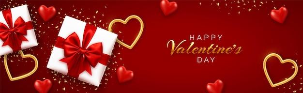Felice modello di banner di san valentino. scatole regalo realistiche con fiocco rosso