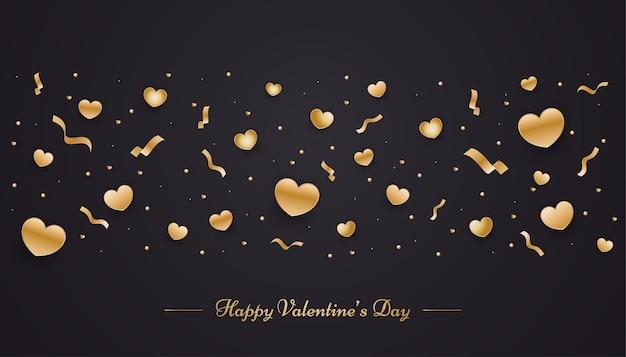 Felice banner di san valentino con ornamenti d'oro 3d sparsi sul nero