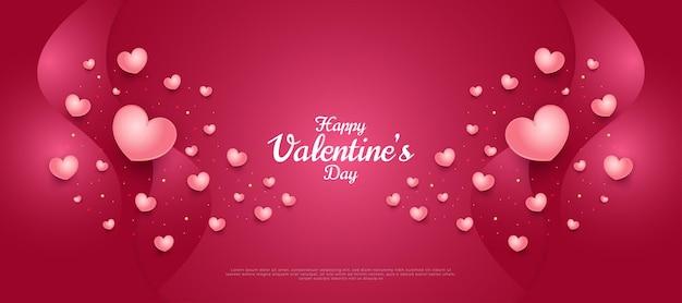 Felice banner di san valentino con simpatici cuori 3d sparsi sul gradiente rosso