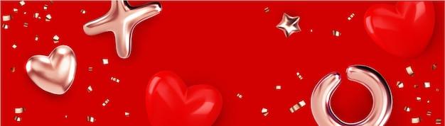 Felice banner di san valentino con oggetto metallico oro e illustrazione del cuore