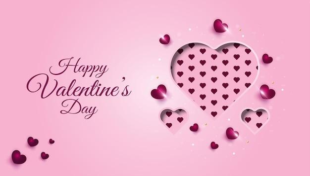 Felice banner di san valentino con cuore in carta tagliata stile su rosa carino