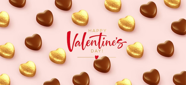 Felice banner di san valentino, con cioccolatini dorati a forma di cuore