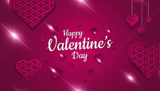 Felice banner di san valentino con cuori rossi in carta tagliata stile e bagliore rosso su sfondo di carta