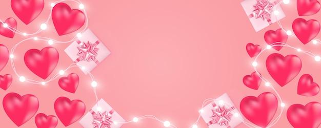 Felice banner di san valentino con ghirlanda di luci brillanti, lampadine, cuori, confezione regalo