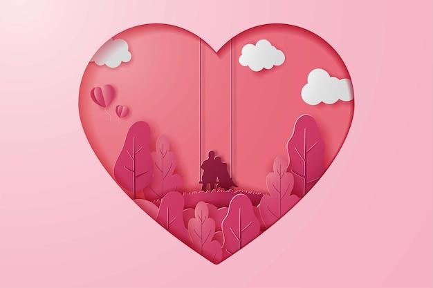 Buon san valentino banner, carta tagliata in stile artistico. coppia in altalena