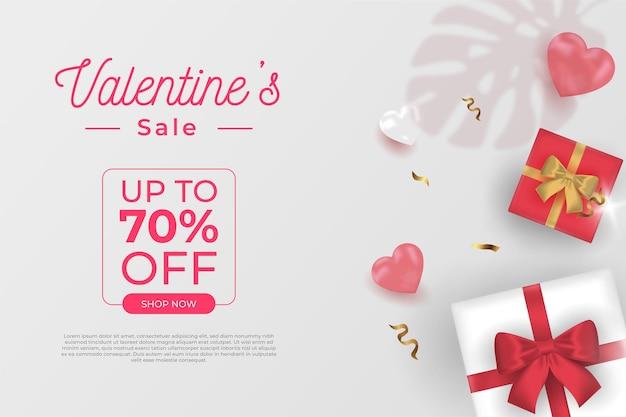 Buon san valentino banner vendita promozione e sconto, stile realistico.