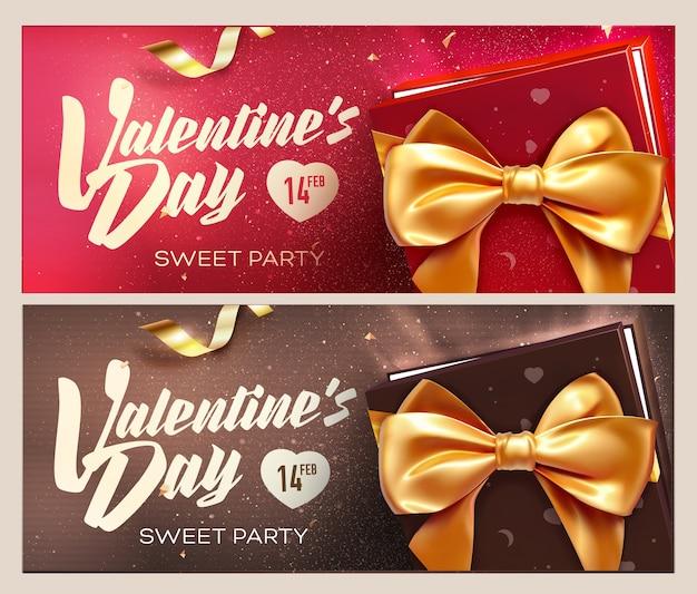 Buon san valentino banner. vista dall'alto su confezione regalo e fiocco