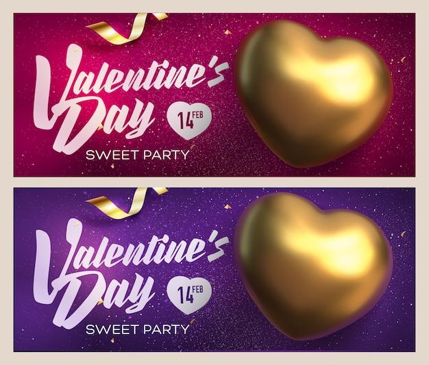 Buon san valentino banner. vista dall'alto sul cuore d'oro
