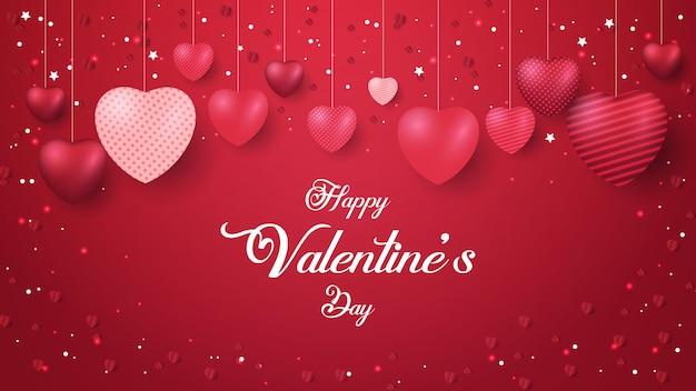 Banner di san valentino felice con brillanti forme di cuore rosso galleggianti