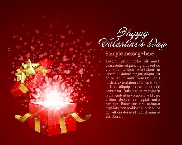Buon disegno di carta di san valentino e confezione regalo con coriandoli di cuori