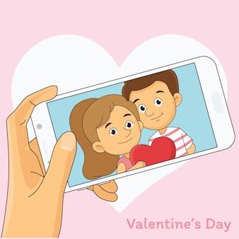 Buon san valentino carta. selfie romantico