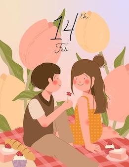 Carta felice di san valentino con coppia carina sul picnic durante l'illustrazione romantica della data