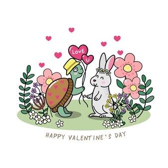 Felice carta di san valentino con tartaruga e coniglio