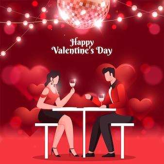 Felice giorno di san valentino celebrazione sfondo con giovani coppie che si siedono al tavolo del ristorante