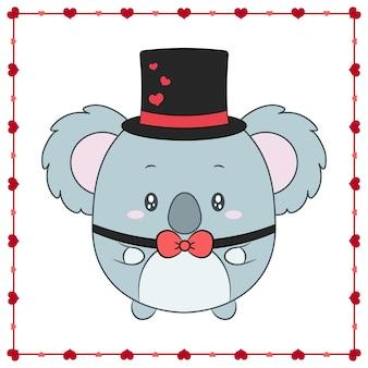 Buon san valentino simpatico animale baby koala disegno con cornice cuori