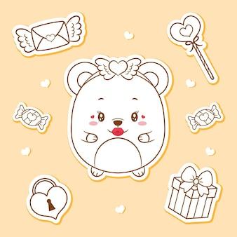 Felice giorno di san valentino carino bambino orsacchiotto disegno elementi adesivi schizzo