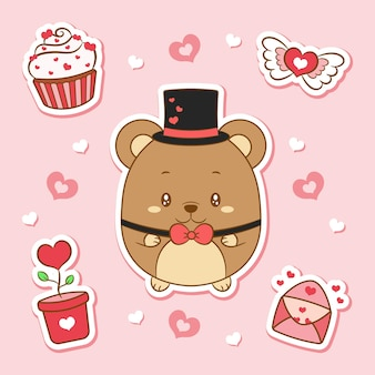 Buon san valentino simpatico orsacchiotto di peluche che disegna elementi adesivi