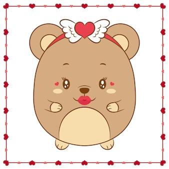 Disegno di orsacchiotto bambino carino giorno di san valentino felice