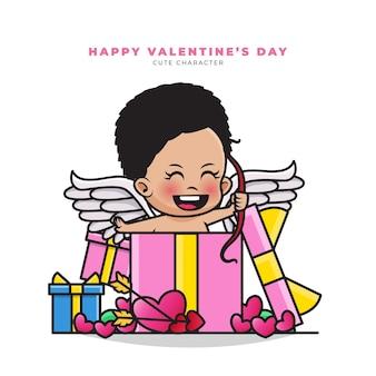 Buon san valentino. simpatico personaggio dei cartoni animati di cupido nero fuori dalla confezione regalo di san valentino