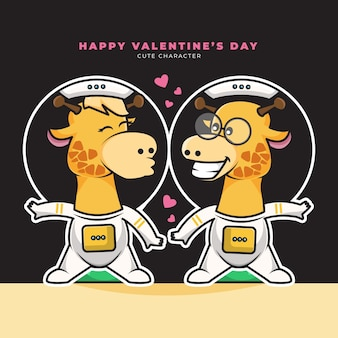 Buon san valentino. carattere sveglio del fumetto della giraffa dell'astronauta delle coppie