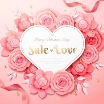 Buon san valentino design con rose di carta rosa composte a forma di cuore nell'illustrazione 3d