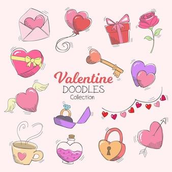 Buon san valentino doodle icone ed elementi di raccolta
