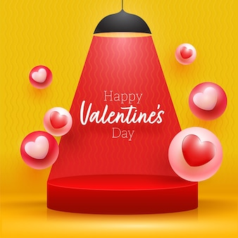 Carattere di san valentino felice presentato sul podio con palle di cuore 3d