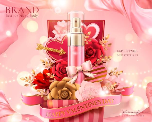 Buon regalo di san valentino con fiori di carta e flaconi spray nell'illustrazione 3d