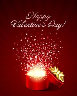 Buon san valentino biglietto di auguri design e confezione regalo con coriandoli cuori