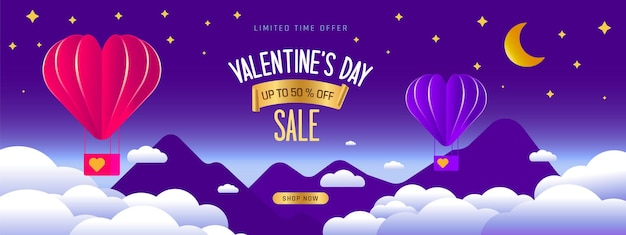 Buon disegno di cartolina d'auguri di san valentino. banner di vacanza con mongolfiera ad aria calda. palloncini artistici di carta.