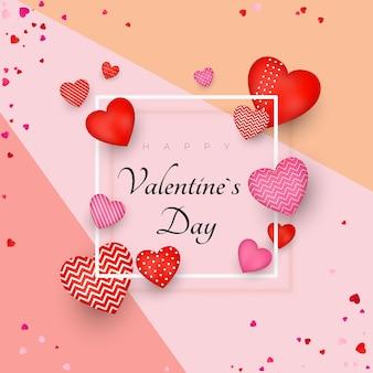 Buon san valentino biglietto di auguri o invito design. 14 febbraio giornata d'amore e romantica. sii il mio valentino. banner di vacanza con cuori rossi.