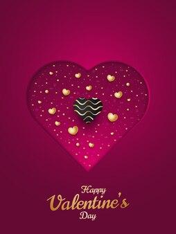 Cartolina d'auguri o poster di san valentino felice con cuori 3d sparsi su carta tagliata