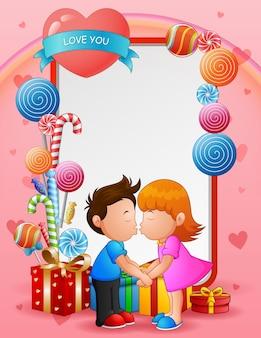 Cartolina d'auguri di san valentino felice con una coppia che si bacia