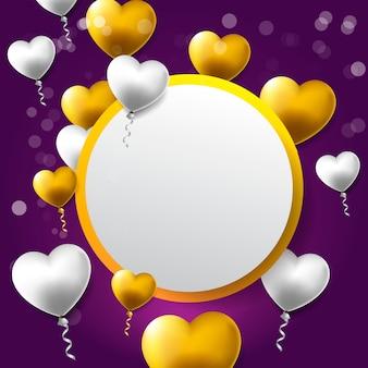 Cartolina d'auguri di san valentino felice con cornice e cuori di cerchio dorato