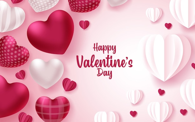 Cartolina d'auguri di san valentino felice con cuori