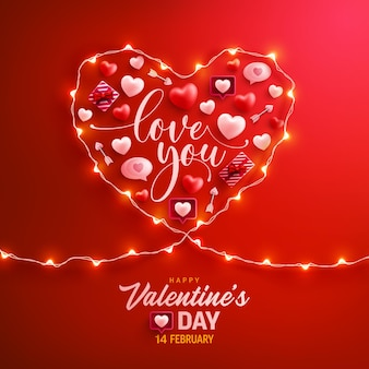 Cartolina d'auguri felice di san valentino con il simbolo del cuore dalle luci della stringa del led e dagli elementi di san valentino sul rosso