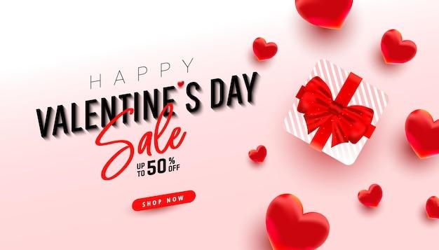 Buon saluto di san valentino 'con regalo a sorpresa e decorazioni d'amore 3d