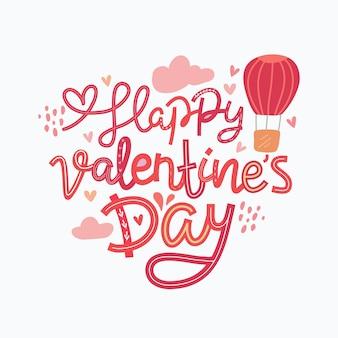 Iscrizione disegnata a mano di san valentino felice