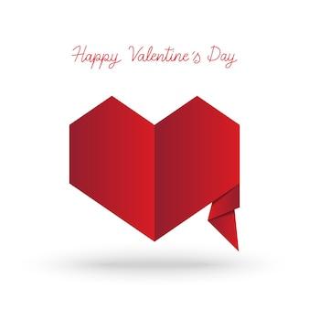 Iscrizione della mano di san valentino felice con il cuore in stile origami.