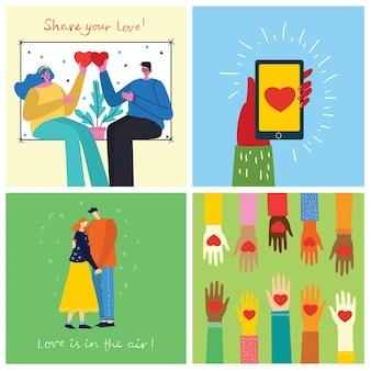 Buon san valentino. mani, animali e persone con il cuore come massaggi d'amore. illustrazione vettoriale per san valentino in stile piatto moderno