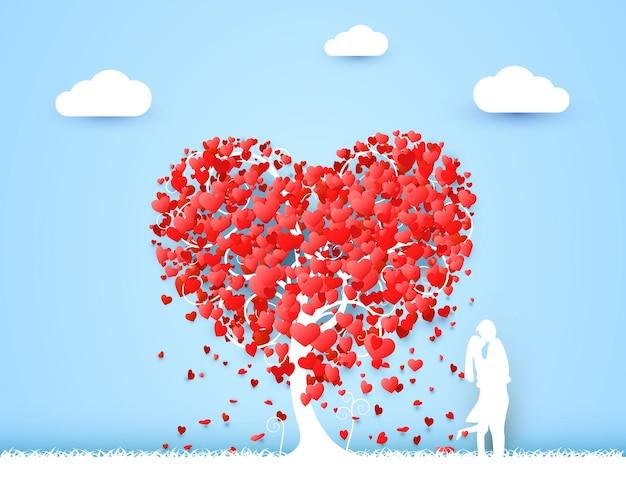 Fondo felice di amore dell'albero del cuore di san valentino