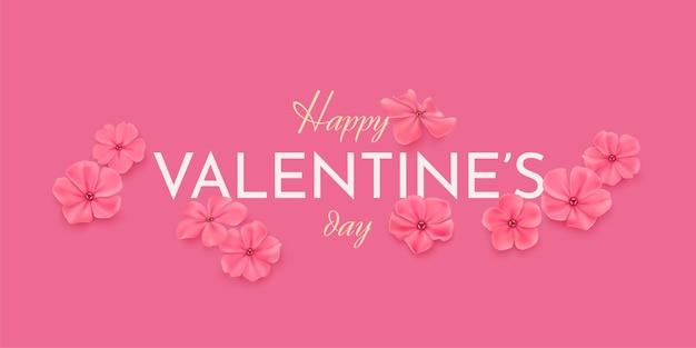 Cartolina d'auguri orizzontale felice di san valentino. delicati fiori rosa su sfondo rosa e testo di congratulazioni buon san valentino.