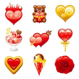 Felice giorno di san valentino icon set cartoon illustrazione