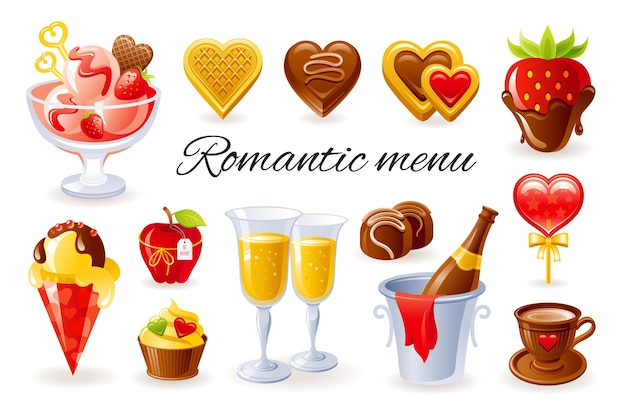 Felice giorno di san valentino icon set cartoon illustrazione
