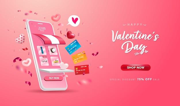 Buon san valentino. negozio di acquisti online su sito web e design del telefono cellulare.