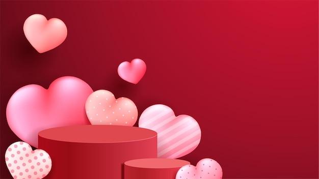 Felice display sul podio di san valentino.