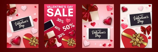 Felice poster di san valentino impostato con smartphone, confezione regalo, cuori e fiocchi.