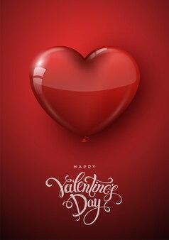 Felice poster di san valentino con palloncini cuore realistici