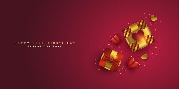 Scatole regalo e cuori realistici di san valentino felice su fondo rosso