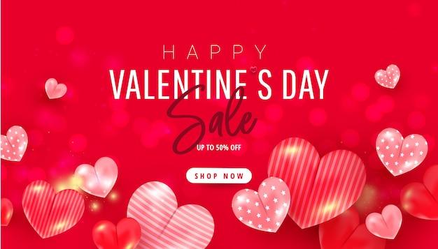 Felice banner di vendita romantica di san valentino